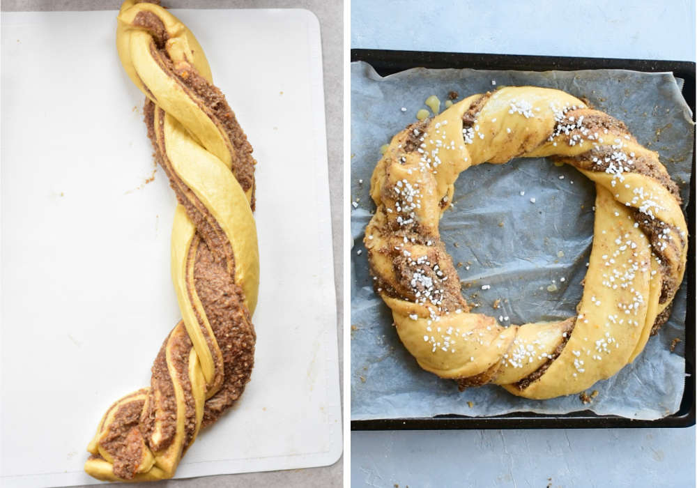 making of a wreath out of dough, nut wreath on a baking sheet