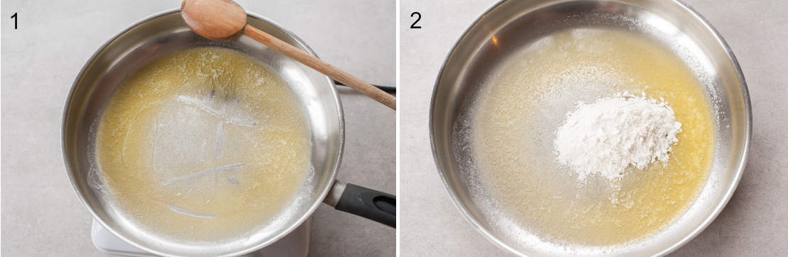 Melted butter in a pan. Melted butter and flour in a pan