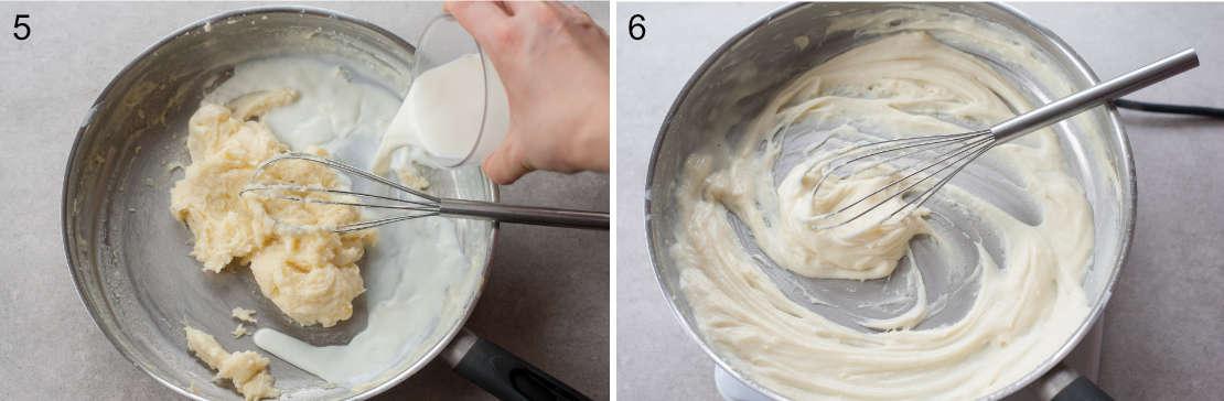 Bechamel sauce preparation steps.