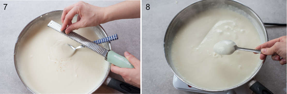 Bechamel sauce is being seasoned with nutmeg, sauce coats the back of a spoon.