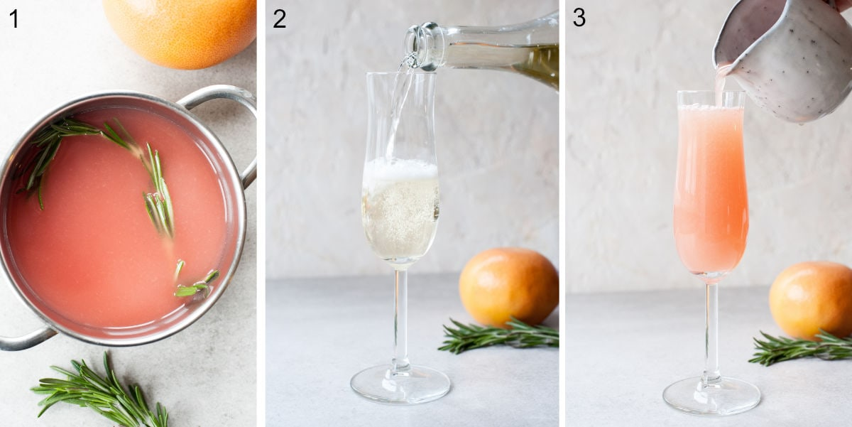 a collage of three photos showing mimosa drink preparation steps