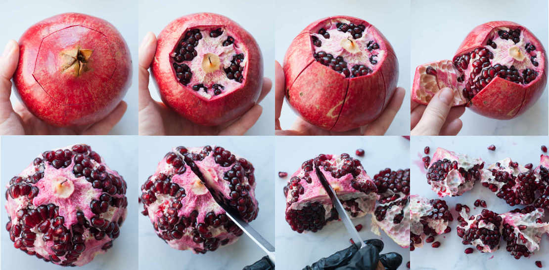 peeling and de-seeding a pomegranate