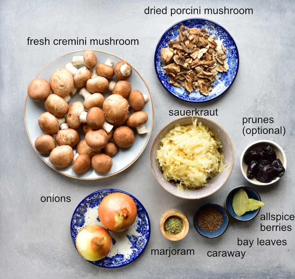Sauerkraut and mushroom pierogi recipe ingrdients