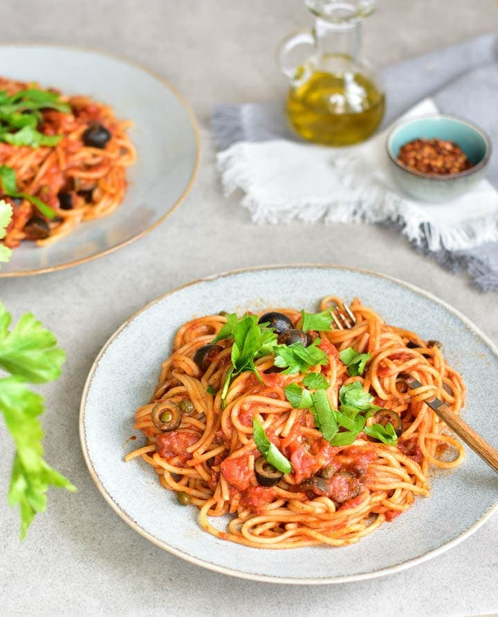 Spaghetti alla Puttanesca – tomatoes, olives, capers and anchovies pasta