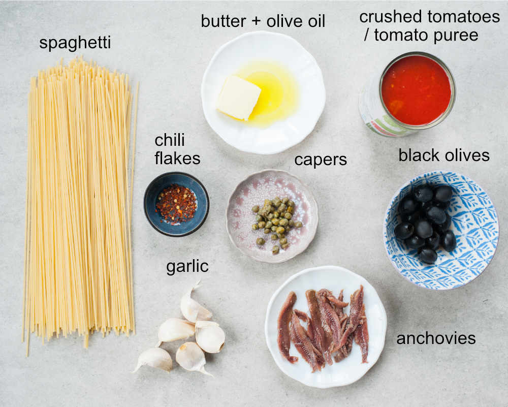 Spaghetti alla Puttanesca ingredients