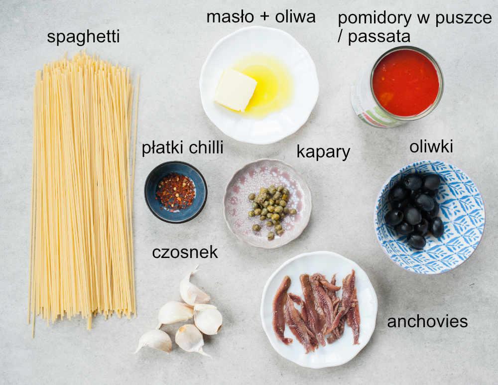 składniki na Spaghetti alla Puttanesca