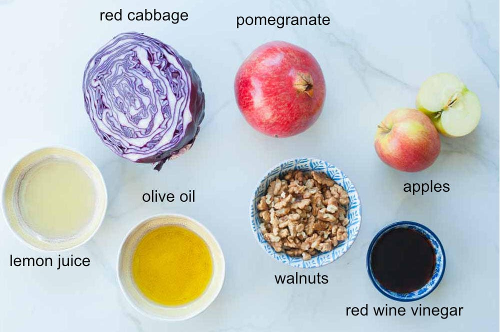 Labeled ingredients for red cabbage apple slaw.