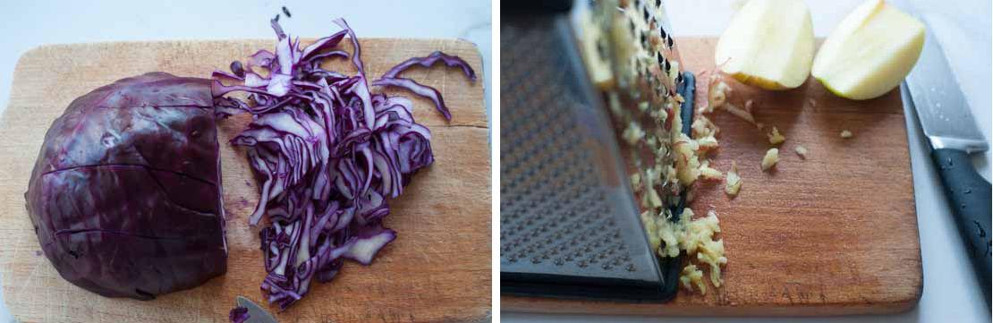 Red cabbage apple slaw preparation steps.
