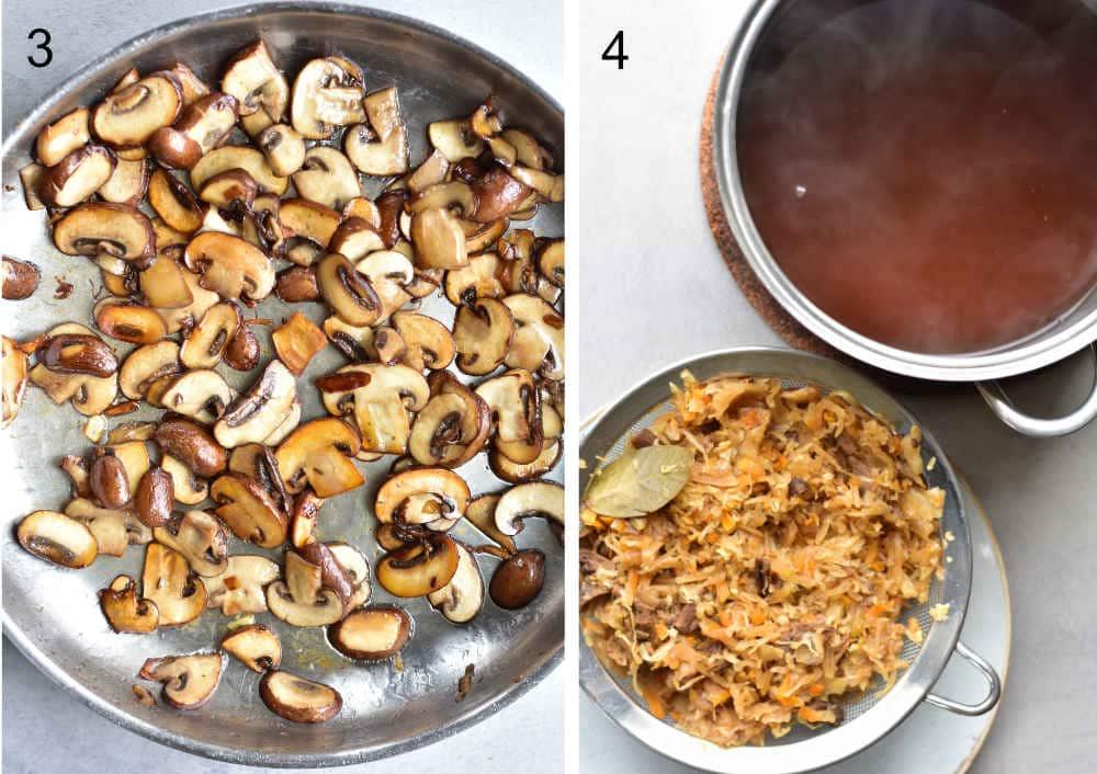Sauerkraut and mushroom pierogi recipe preparation steps