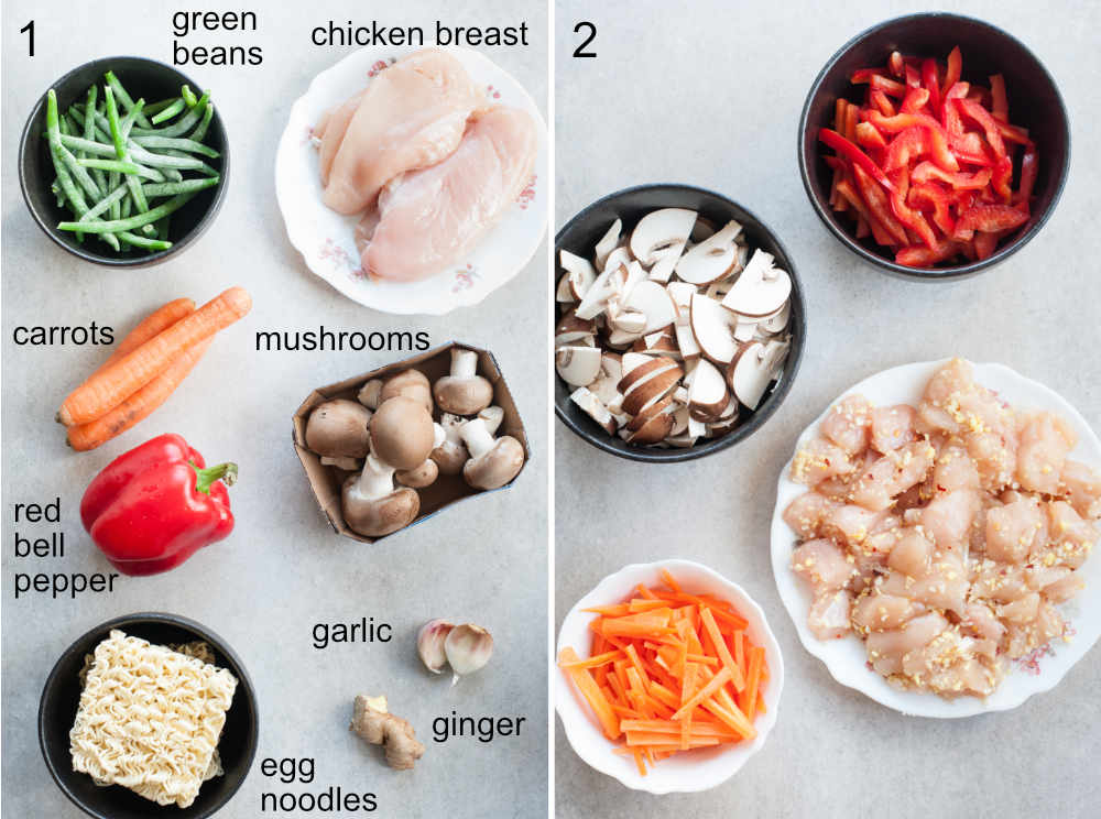 ingredients for sweet and sour chicken with noodles and vegetables