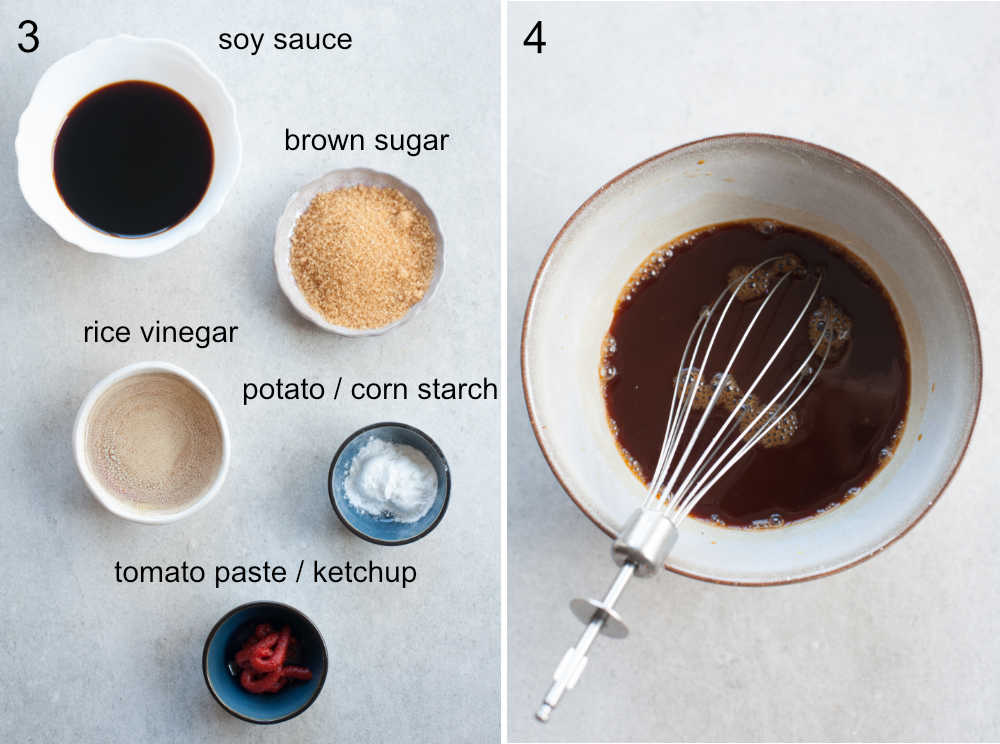 ingredients for sweet and sour sauce, sweet and sour sauce in a grey bowl