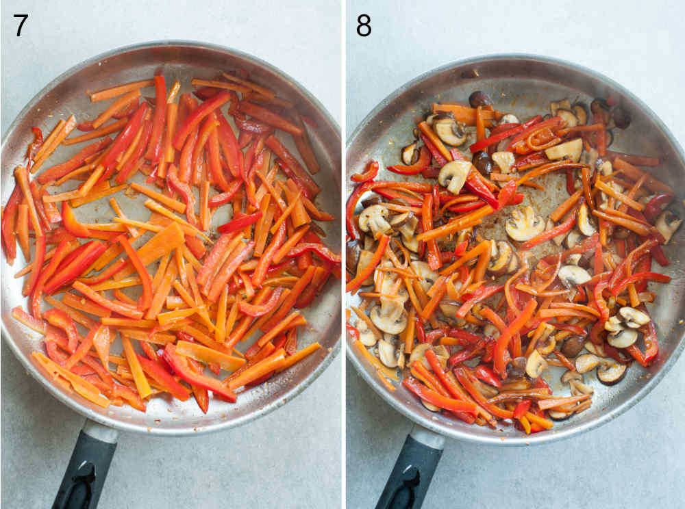 cooked carrots, bell peppers and cremini mushrooms in a pan