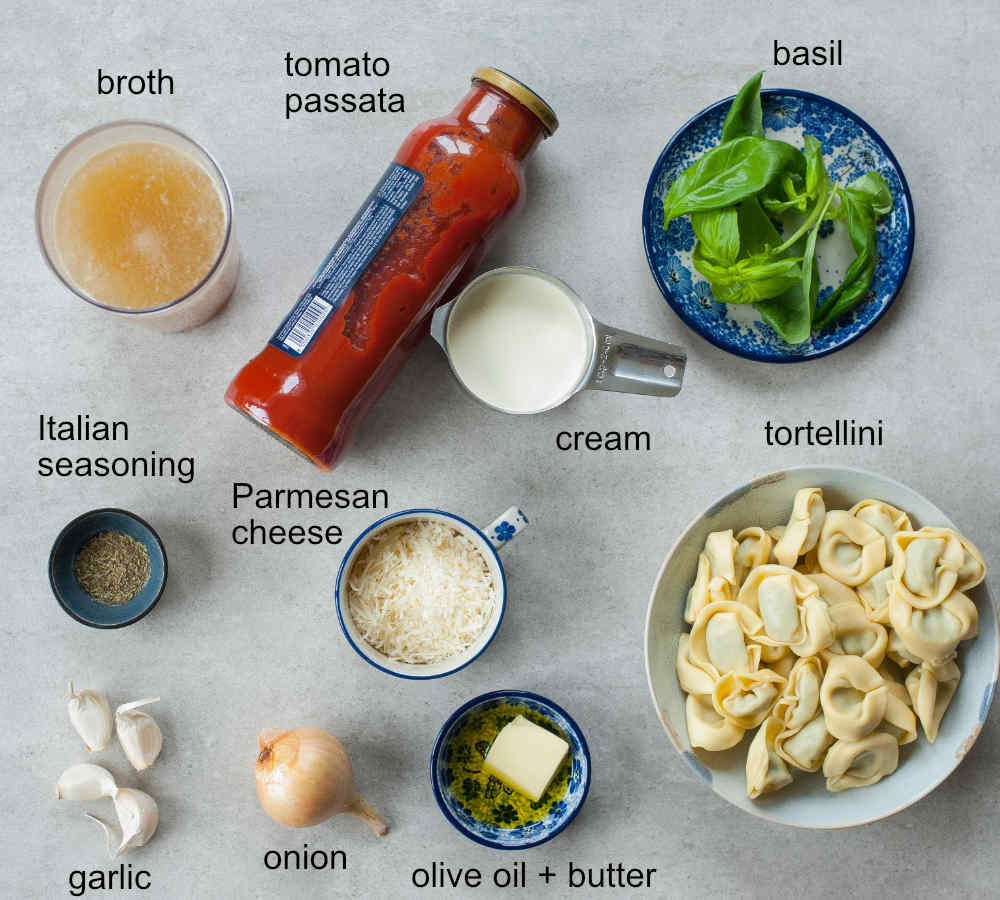 ingredients needed to prepare tomato tortellini soup