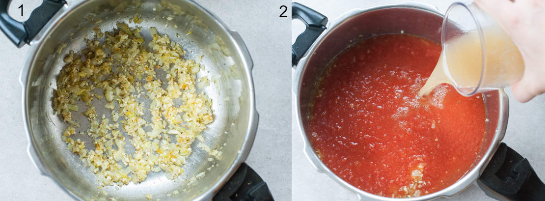 left picture: sauteed onion in a pot, right picture: broth is being added to tomato passata in a pot