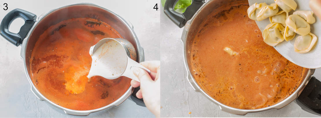 left picture: cream is being added to the soup, right picture: tortellini are being added to the soup