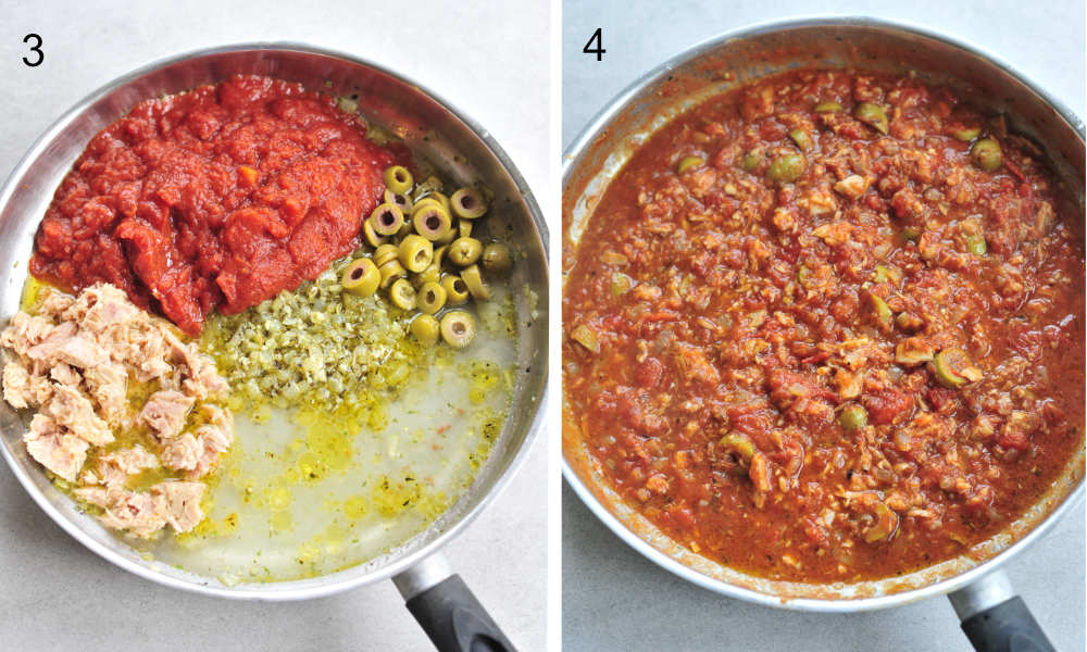left picture: tuna, tomatoes, broth, olives, onions in a pan, right picture: tuna tomato sauce in a pan