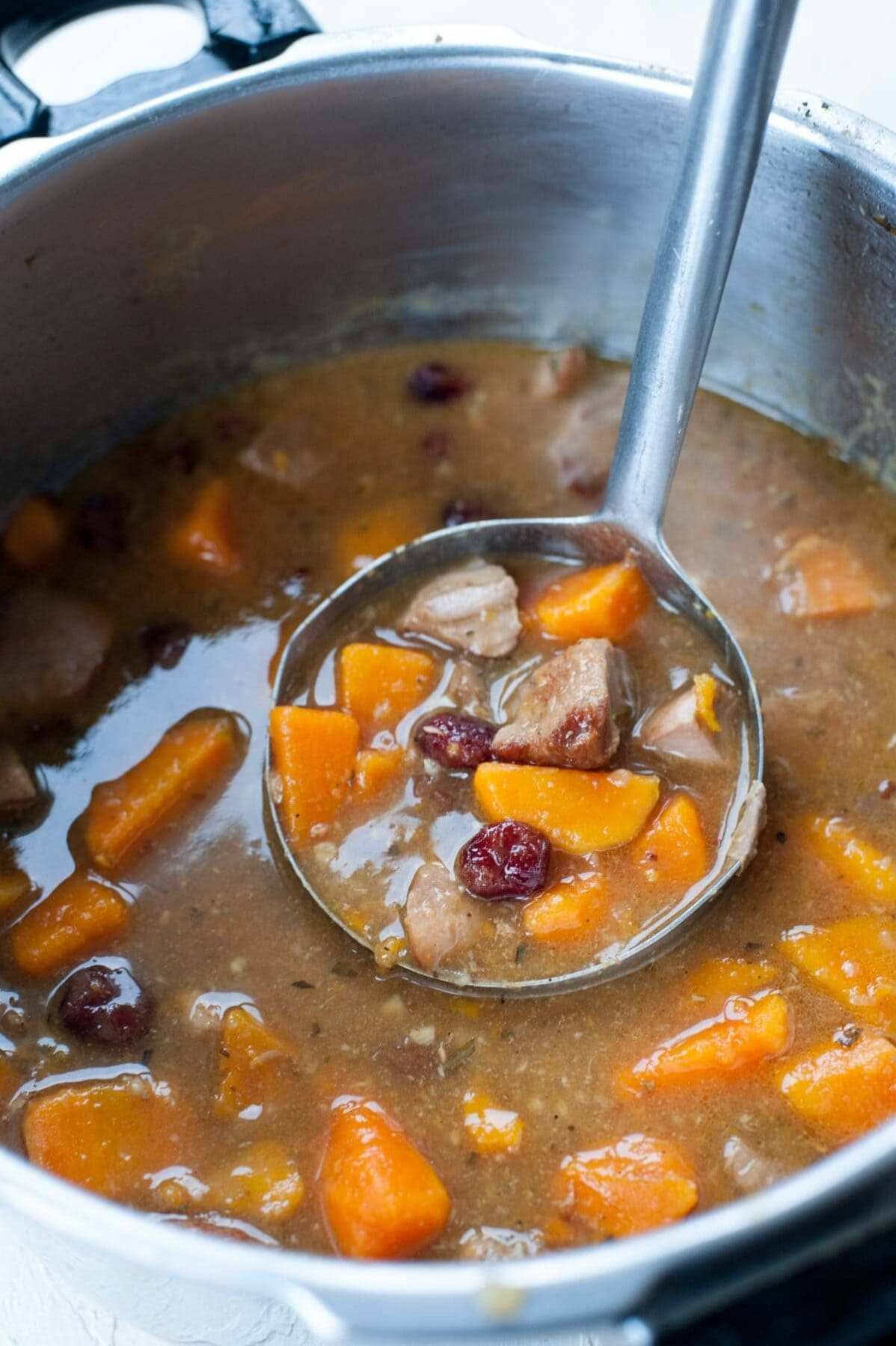 Turkey stew with sweet potato in a pot and on a soup laddle.