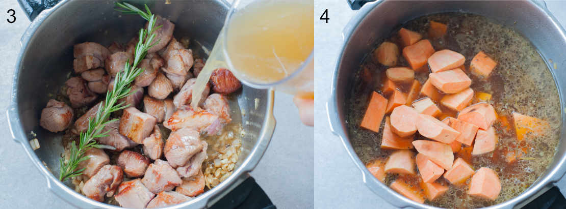 Broth and sweet potatoes are being added to the pot with turkey meat.
