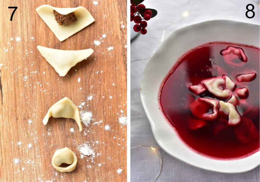 shaped uszka on a wooden board, Christmas Eve red borscht served with cooked uszka