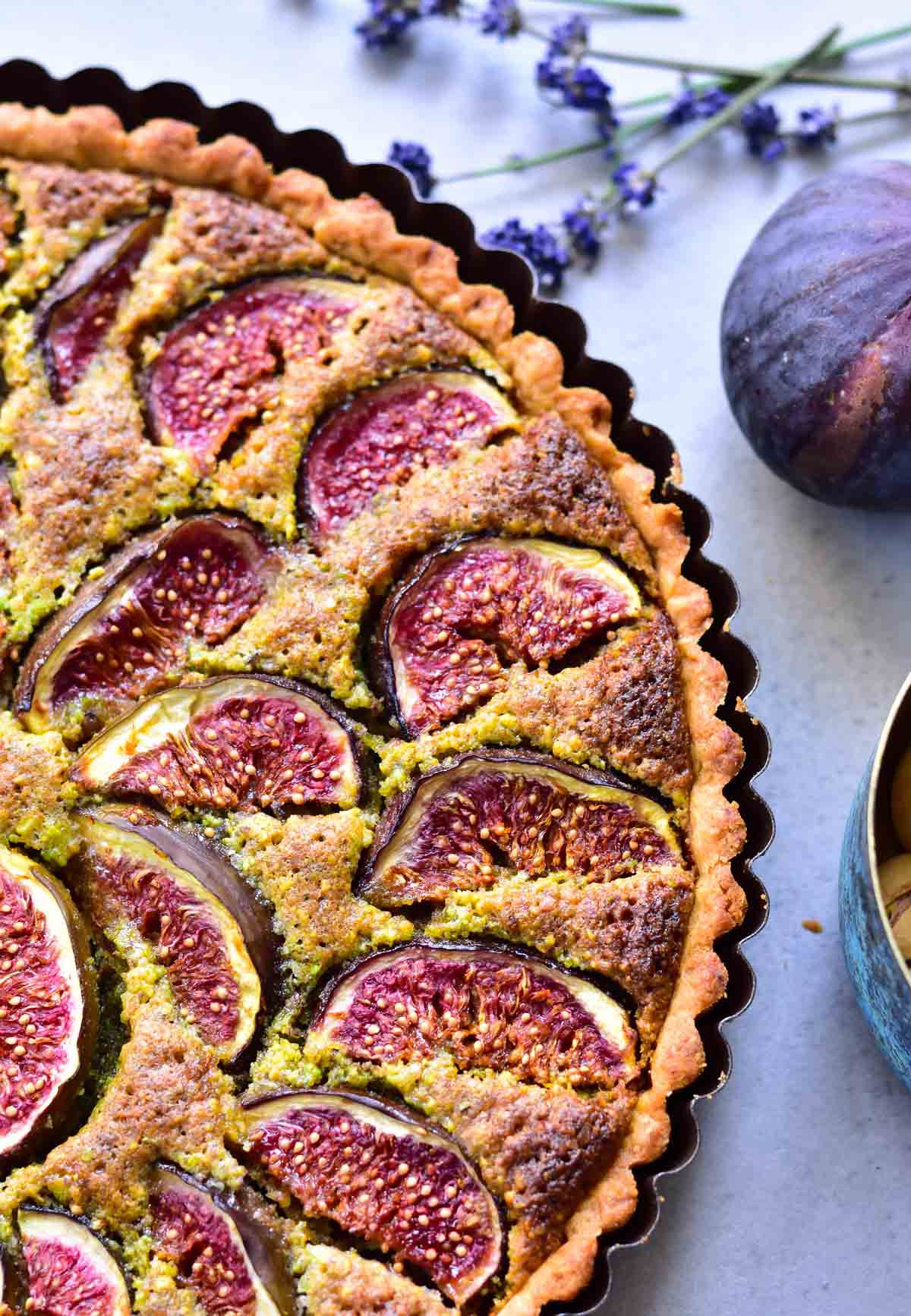 close up shot on fig frangipane tart