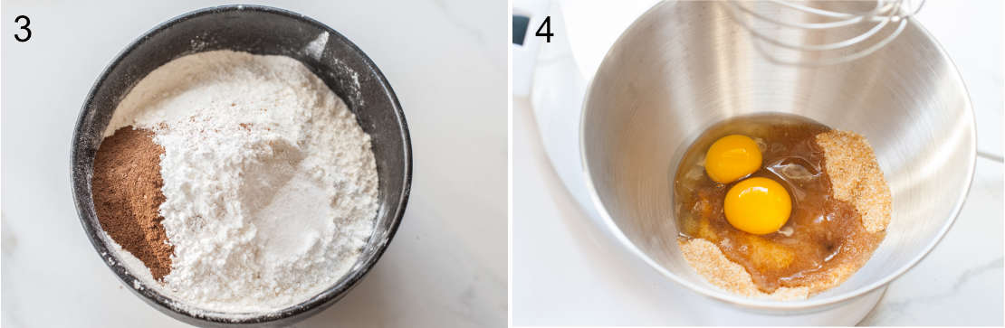 flour and spices in a bowl, eggs and sugar in a metal bowl