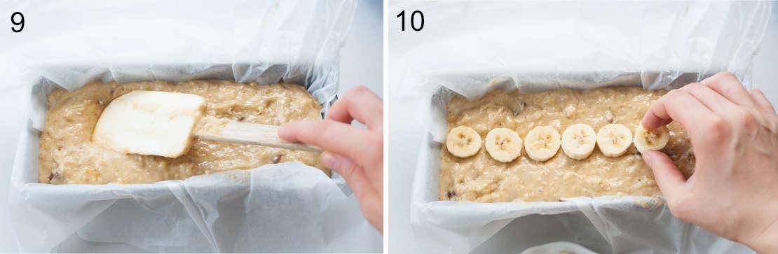 banana bread batter in a loaf pan, slices of banana on top of batter
