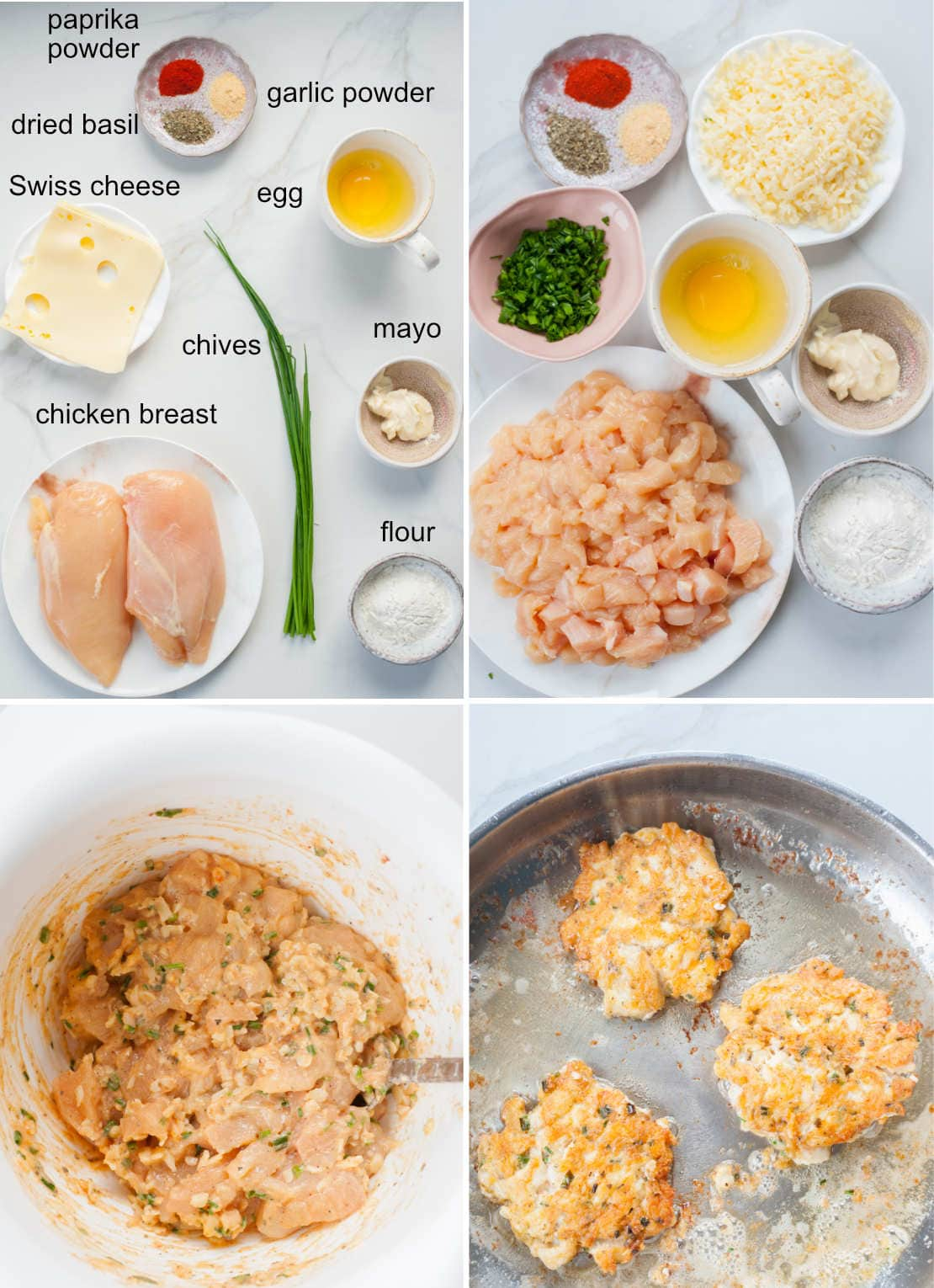 cheesy chicken fritters ingredients and preparation steps