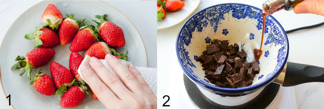 strawberries are being patted dry with paper towels, chopped chocolate in a bowl