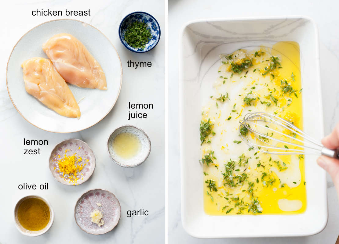 lemon thyme chicken ingredients, marinade ingredients are being whisked in a baking dish