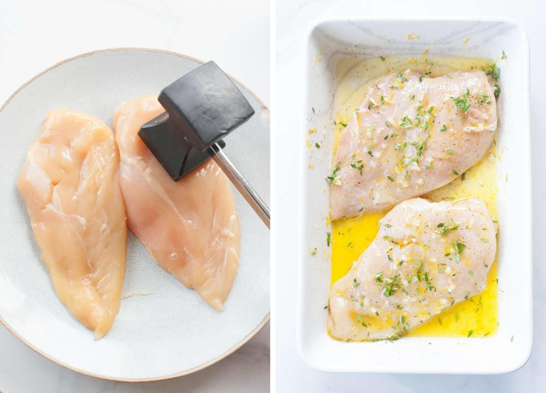 chicken breasts pounded with meat mallet, marinating chicken breasts