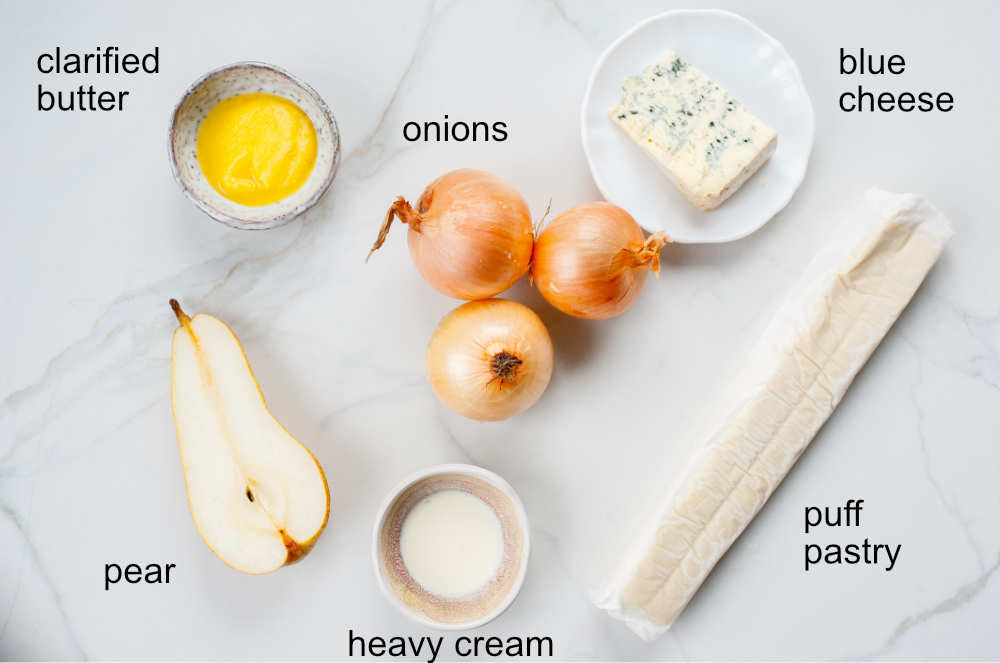 ingredients needed to prepare puff pastry onion tart with pear and blue cheese