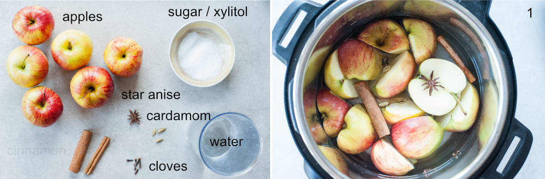 ingredients needed to prepare spiced apple cider on a table and in a pressure cooker