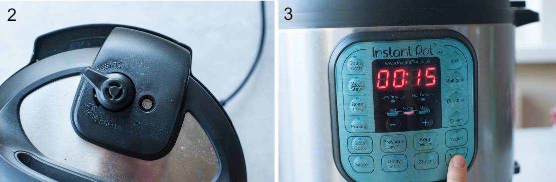 left picture: sealing position of the pressure cooker valve, right picture: timer setting on the pressure cooker