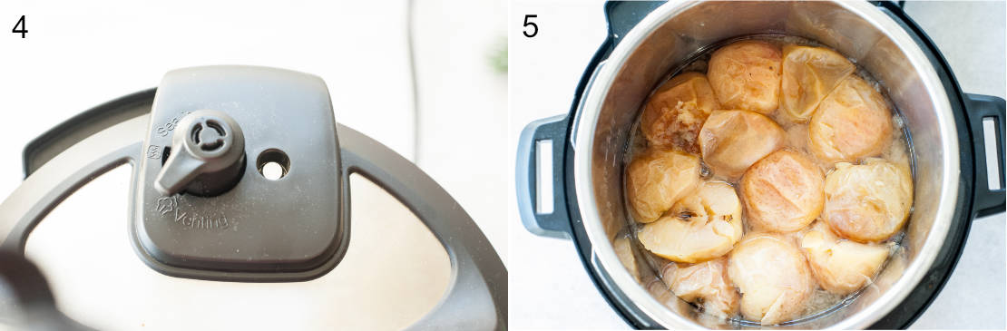 left photo: venting position on the pressure cooker, right photo: apples cooked in the pressure cooker
