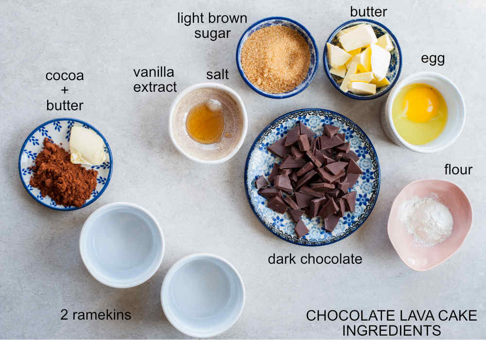 ingredients for molten chocolate cake