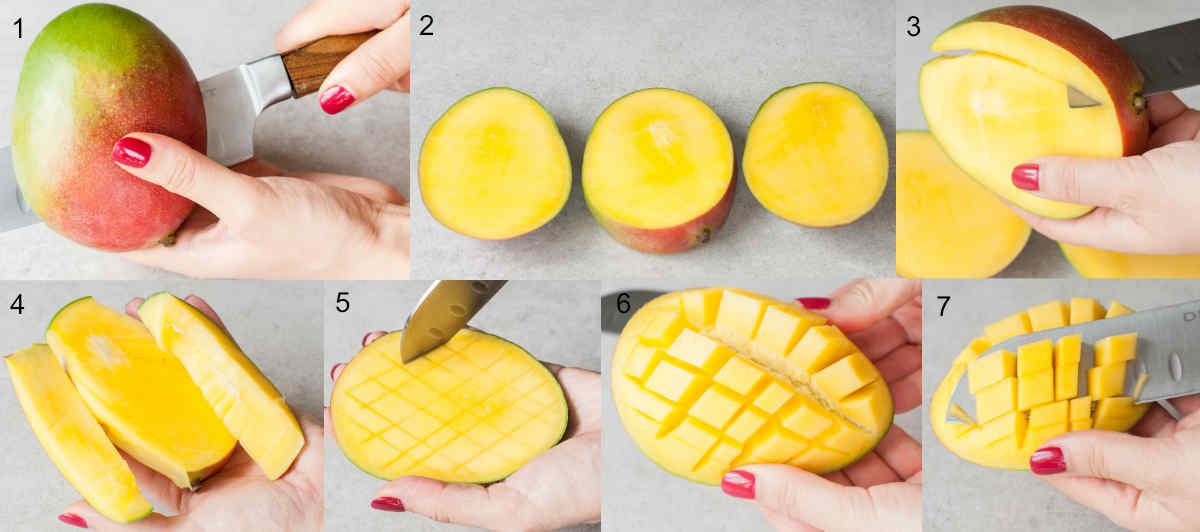 step by step photo collage showing how to cut mango