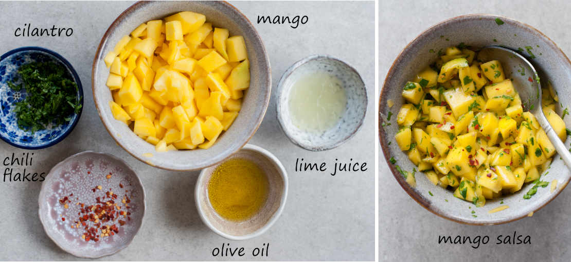 mango salsa ingredients, mango salsa in a grey bowl