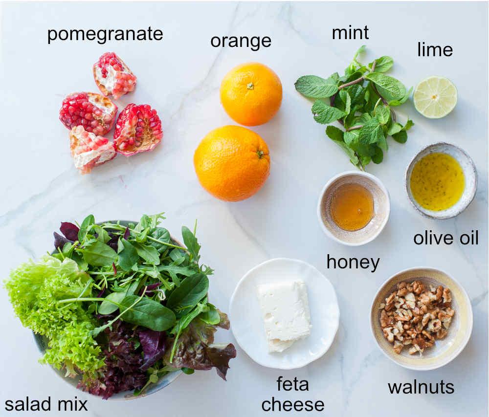 orange pomegranate salad ingredients