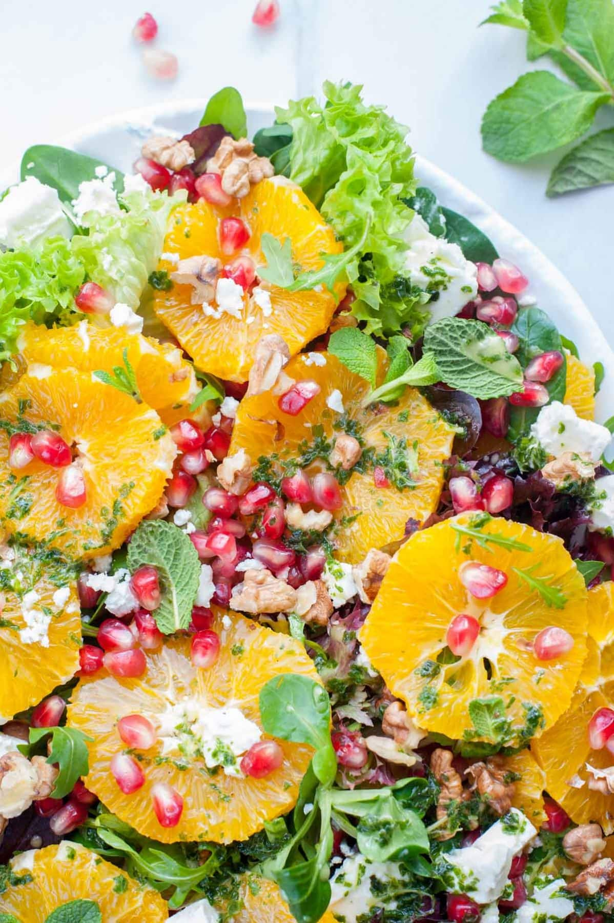 close up shot on orange pomegranate salad