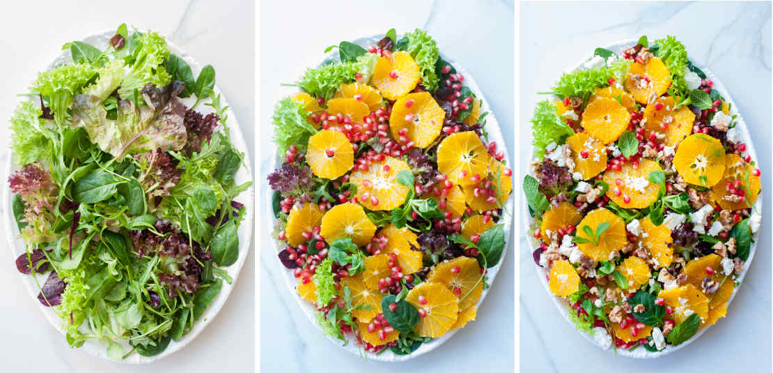 assembling steps of pomegranate orange salad