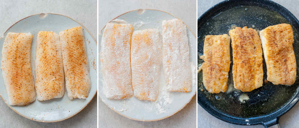 pan-fried cajun-spiced fish - preparation steps