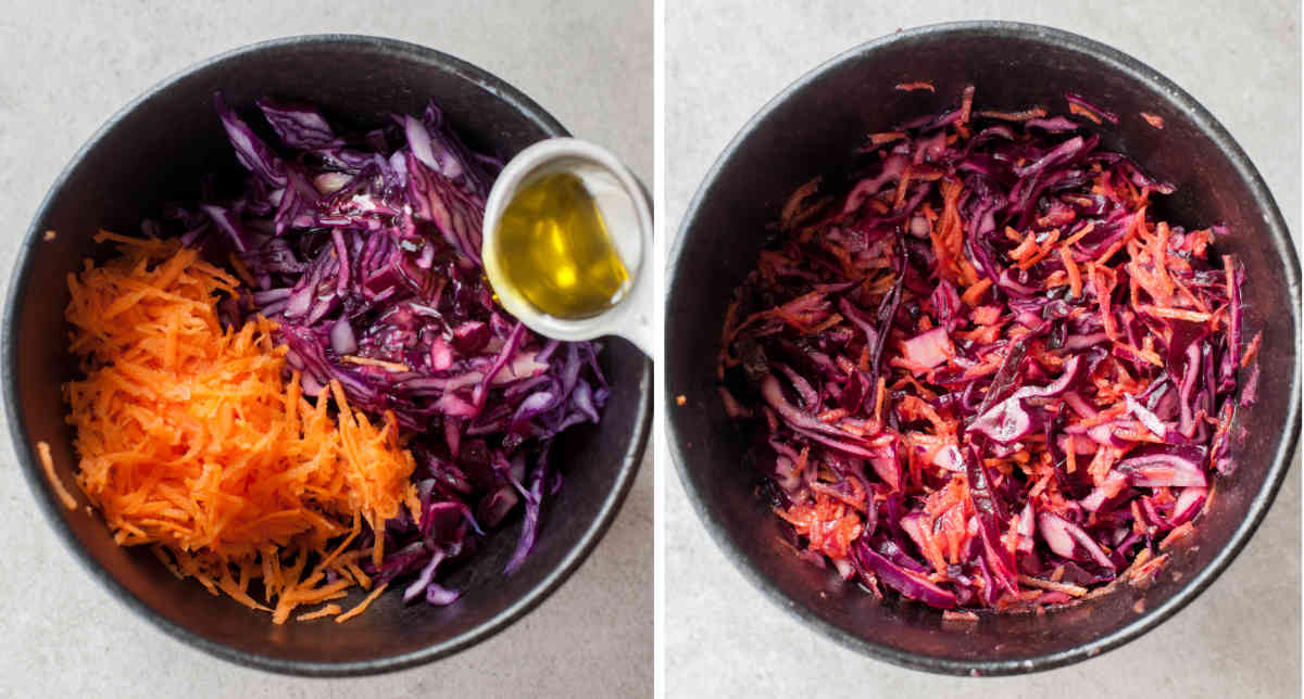 red cabbage carrot slaw preparation steps