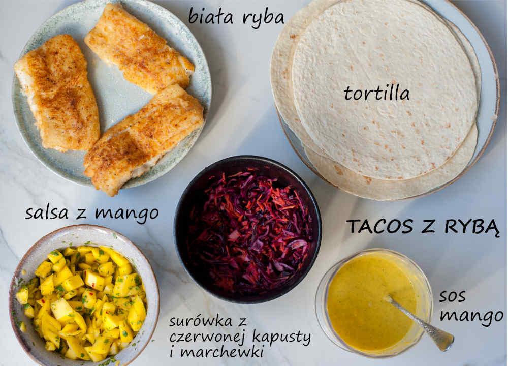 składniki na tacos z rybą