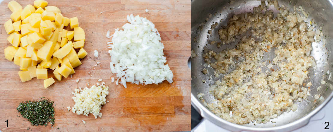 chopped onions, garlic, rosemary and potatoes on a chopping board, sauteed onions in a pot