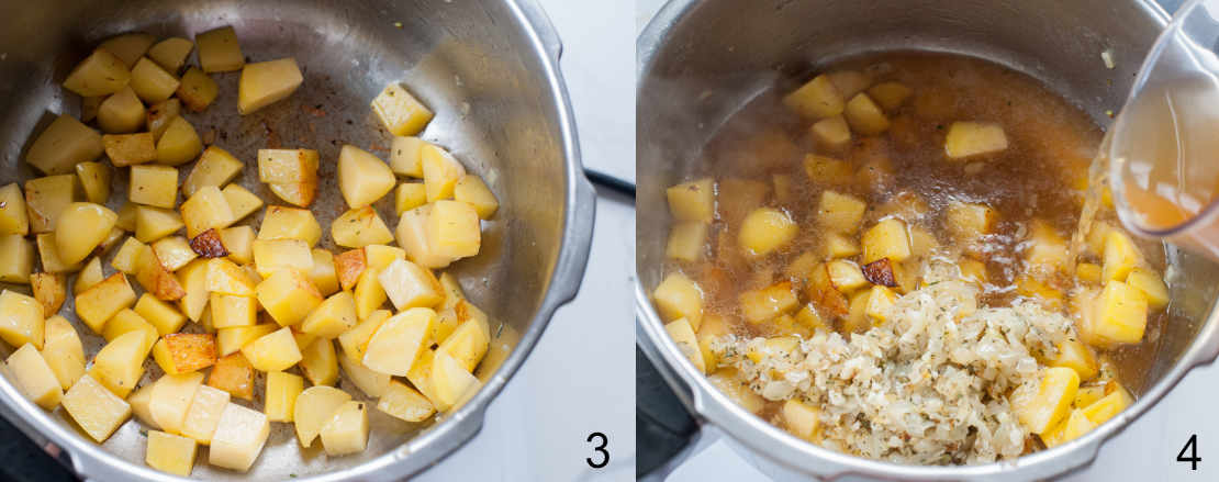 browned potatoes in a pot, brown is being added to the pot