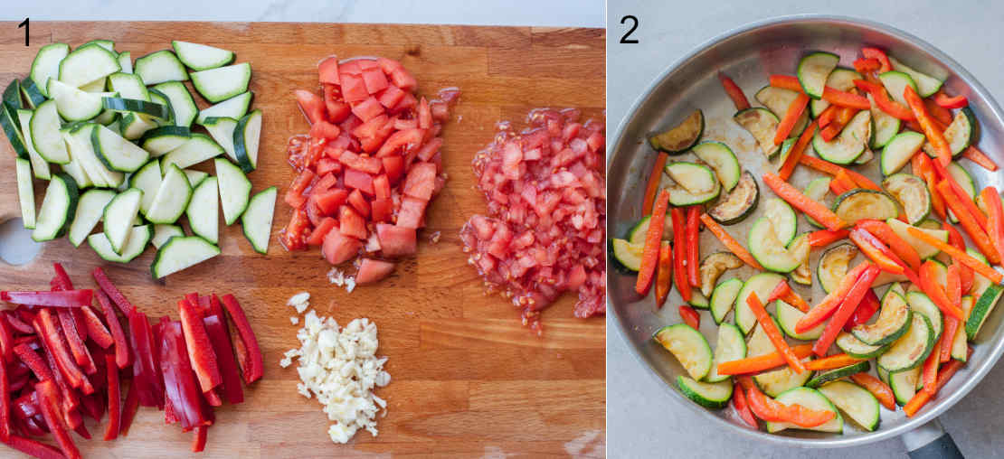 chopped vegetables on a chopping board, cooked vegetables in a pan