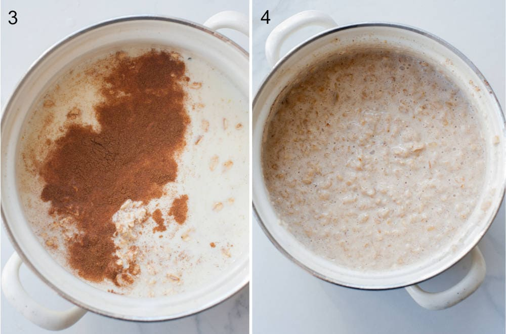 cinnamon oatmeal in a white pot