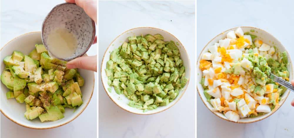 preparation steps of avocado egg salad