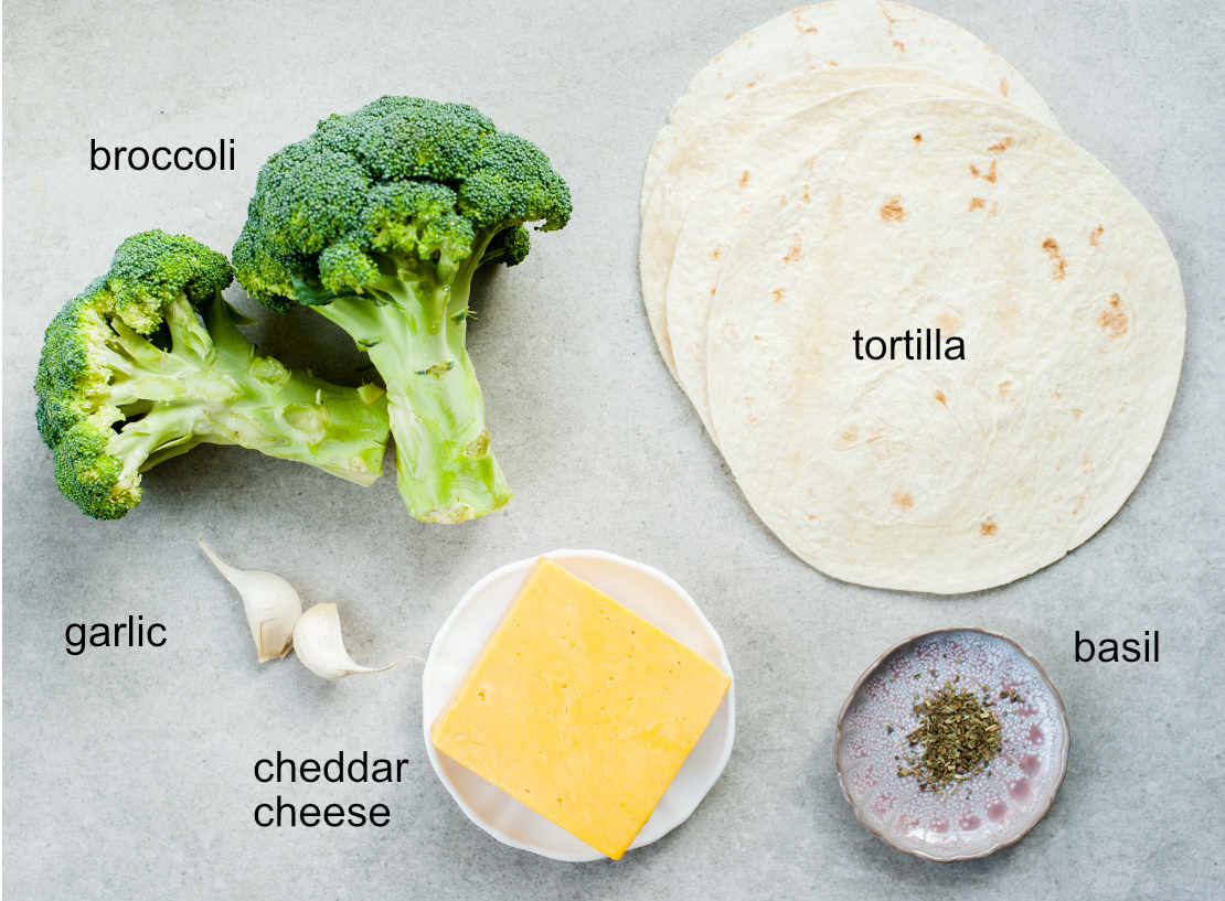 ingredients needed to prepare broccoli cheddar quesadillas