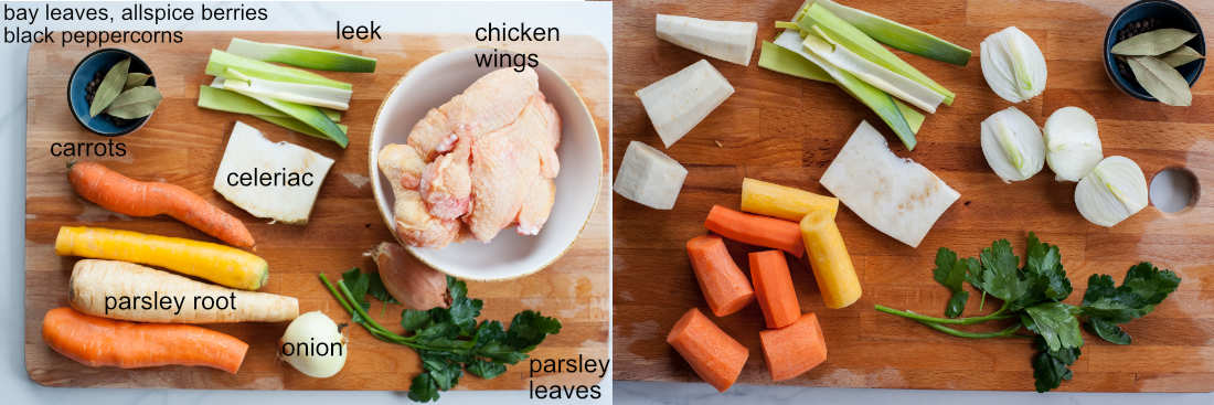 ingredients for homemade chicken broth